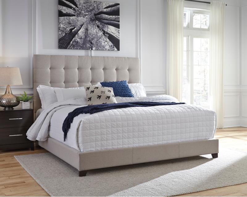 Dolante King Upholstered Bed Beige, Ashley Furniture Tufted Bed